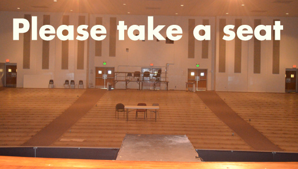 Empty feeling: The olds seats have been removed from the Chilton County High School auditorium. (Photo by Scott Mims)