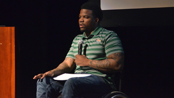 Keynote speaker: Timothy Alexander, a UAB graduate who excelled despite disabilities caused by a wreck, was the keynote speaker at the Student Transition Conference on March 16. (Photos by Stephen Dawkins)