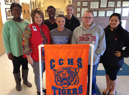Impression made: Paige Scruggs's class at Chilton County High School were among the students to attend the conference. The class includes Tapecia Harris, Scruggs, Brandy Chappell, Kacy Handley, Harley Scurlock, Holly Waller and Rosa Pierce.
