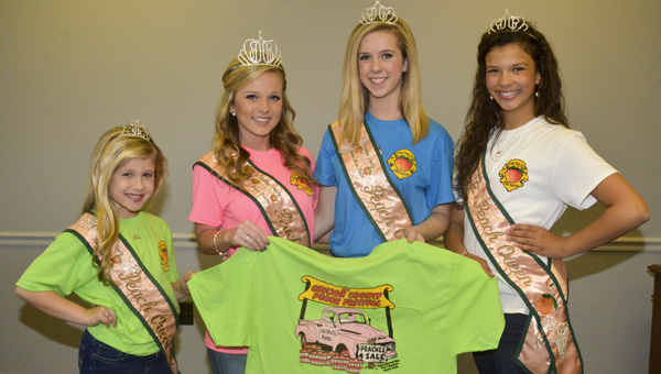 The 2015 Chilton County Peach Queens model the Peach Festival T-shirts. The shirts went on sale March 18 at local businesses in Chilton County. Modeling the shirts are Little Miss Peach Lexie Deavers, Miss Peach Kendal Elijah, Junior Miss Peach, Grayson Gann and Young Miss Peach Halle Sullivan. (Photo by Stephen Dawkins)