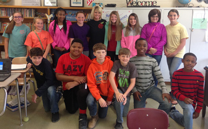 technology2.jpg: Technology upgrade: Students in Brittany Yeargan's sixth grade class at Maplesville, which received new Google Chromebooks, include: (back row) Avery Reed, Brooke Lawrence, Bryce Burns-Devers, Hannah Hollis, Yeargan, Emilee Smith, Reese Brasher, Amber Larkins, Kayla Duncan, (front row) Kirkland Robinson, Adolphus Harris, Benton Gregg, Joseph Johnson, Xzavia Stacy and Javier Agee.