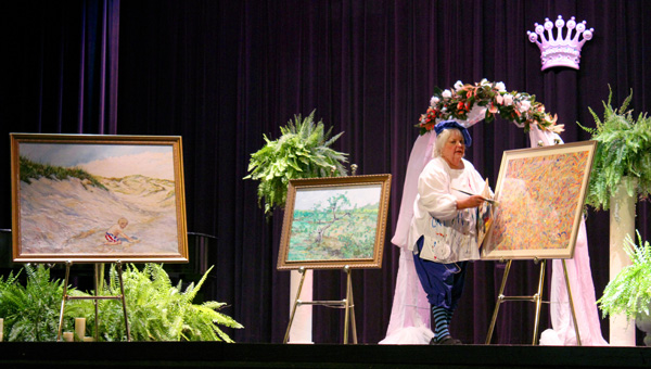 Talent showcase: Scarlett Teel demonstrates her talent of painting last year during the Ms. Senior Alabama pageant. (Contributed photos)