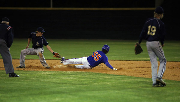 Griffin Beutler slides in safely at second base during junior varsity baseball action between Chilton County and Jemison on Wednesday. (Photo by Brandon Sumrall / Special)