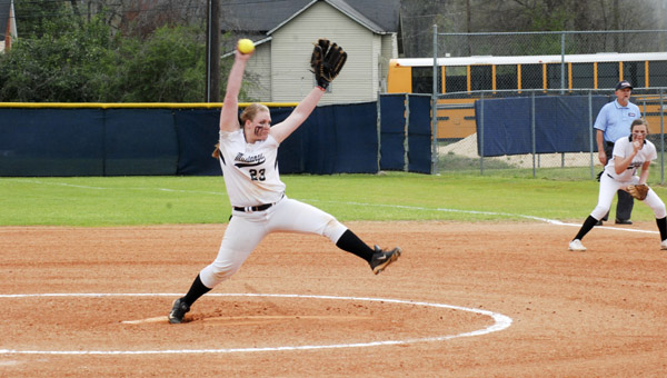 Isabella's Chandler Kirkland delivers a pitch against Thorsby High School during pool play at the Chilton County Softball Tournament hosted by Jemison on March 17. (Photo by Anthony Richards / Advertiser)
