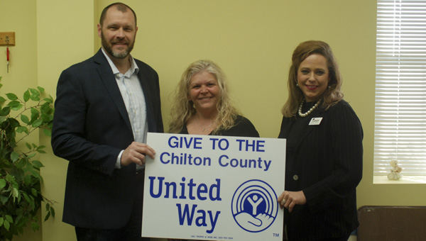 Bryan Kitchens and Ginger Minor of Hometown Lenders have established a partnership with Shelly Mims (middle) and Chilton County United Way. (Photo by Anthony Richards / Advertiser)
