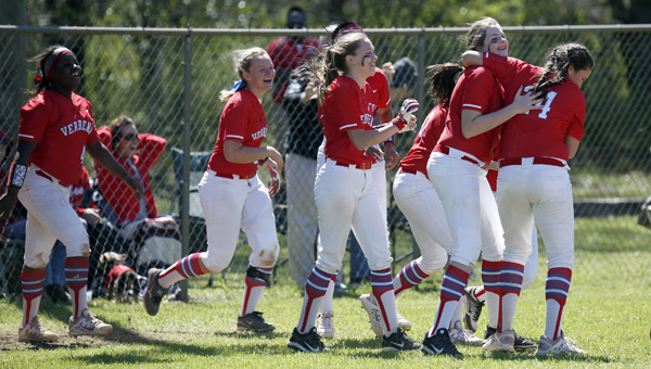 Verbena softball players celebrate a thrilling comeback victory over host Maplesville during a spring break tournament on Saturday. (Photos by Brandon Sumrall / Special)