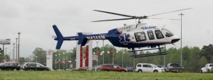 A landing zone for one of the victims involved in the crash was established at Price Drive in Clanton. (Photo by Stephen Dawkins)