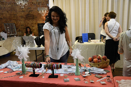 Much to choose from: Shelbie Robinson shops at the Hopes Chest booth.
