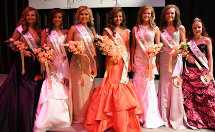 Queen and her court: Miss Peach Queen Hannah Tierce's court included Abbey Porter, Celeste Montgomery, Kali Trice, Anna Calhoun, Whitley Smith and Tiffany Davis.