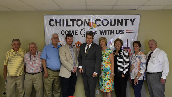 Guest speaker: Director of the Alabama Department of Economic and Community Affairs Jim Byard Jr. (fifth from left) was the guest speaker at Tuesday's Chilton County Chamber of Commerce luncheon. Byard was joined by Maplesville Mayor W.C. Hayes, Clanton City Councilman Bobby Cook, Clanton Mayor Billy Joe Driver, Chamber Board of Directors President Stephen Dawkins, Chamber Director Janice Hull, Chamber Board member Connie Bainbridge, Judy Martin and Probate Judge Bobby Martin.
