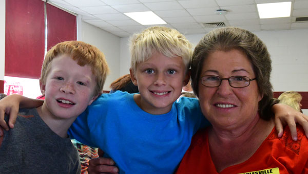 Luke Thomas with Bransen Howard and his grandmother, Alice Ferguson at Maplesville High School's Grandparents Day lunch.(Photo by Steven Calhoun)