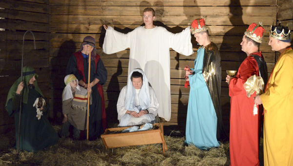 Members of the Christ Independent Methodist Church congregation and volunteers participated in a live nativity on Tuesday. (Photo by Anthony Richards)