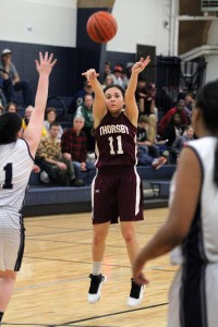 Thorsby's Lilly Barnett shoots during a game earlier this season. She is one of the many reasons why the Rebels enter as the top seed in the Area 9-2A tournament. (File)