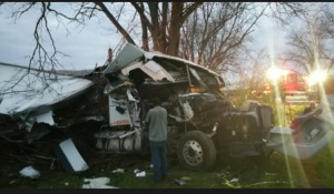 An 18-wheeler hauling paper to Illinois drove off the road and hit a tree Tuesday morning in Jemison. (Contributed)