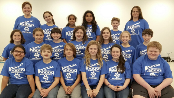 "Students at Jemison Middle School are gearing up to perform a spring play on Tuesday called ""12 Angry Pigs."" The students involved in the show are (front row) Camila Morales, Brisco Smith, Tucker Bean, MacKenzie Atkinson, Alexis Carr, Ras Atkins, (middle row) Kinsley Martin, Emily Brant, Grace Ann Biel, Destiny Casale, Caley Branch, Morgan Lowery, Cole Elrod, (back row) Jillena Smets (director), Audrey Carlee, Gloria Ortega-Sanchez, Monica Garcia, Stetson Lucas and Jenny Carlee (assistant director)."