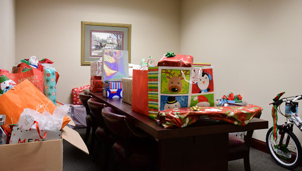 The Angel Tree gifts filled a conference room in Jemison City Hall before being taken to Jemison Middle School.(Photo by Steven Calhoun)